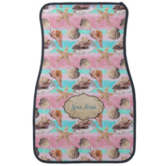Seashells Pink Turquoise Stripes Car Mat