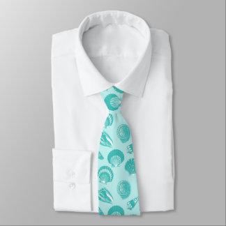 Seashells - soft aqua and white tie