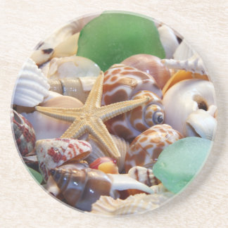Seashells Starfish & Beach Glass Coaster
