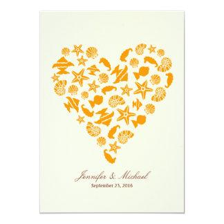 Seashells & Starfish Heart Summer Beach Wedding Card