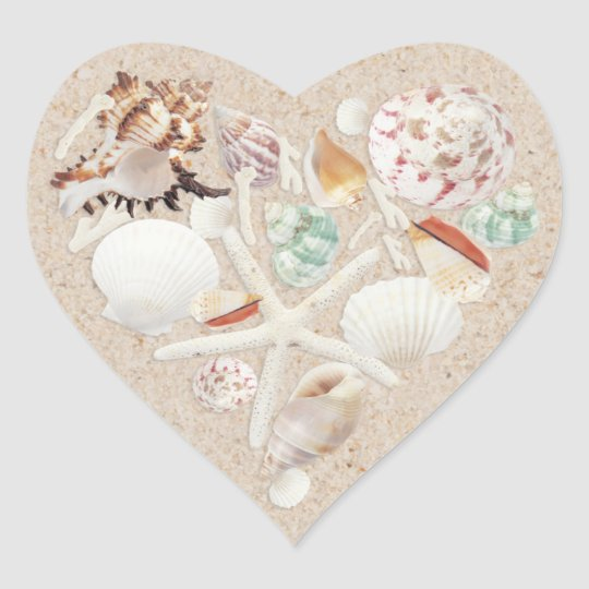 Seashells & Starfish on the Beach Wedding Heart Sticker