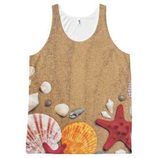 Seashells Starfish Sandy Beach All-Over Print Tank Top