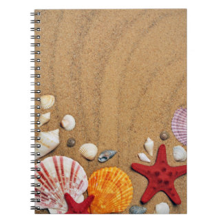 Seashells Starfish Sandy Beach Stone Coaster Notebook