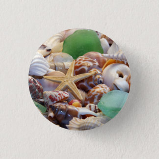 Seashells Starfish & Sea Glass Button