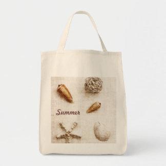 seashells - summer - beach bag