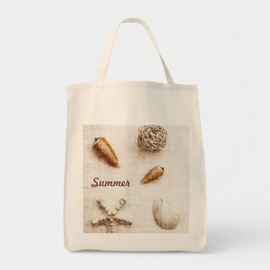 seashells - summer - beach bag