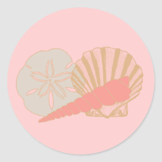 Seashells Trio Classic Round Sticker