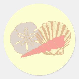 Seashells Trio Round Stickers