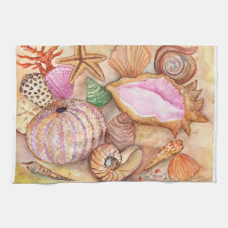 Seashells watercolor painting towel