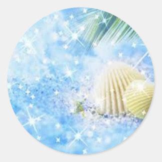 seashels shiney classic round sticker