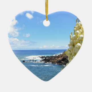 Seashore and Yucca Flowers In Bloom Christmas Ornament