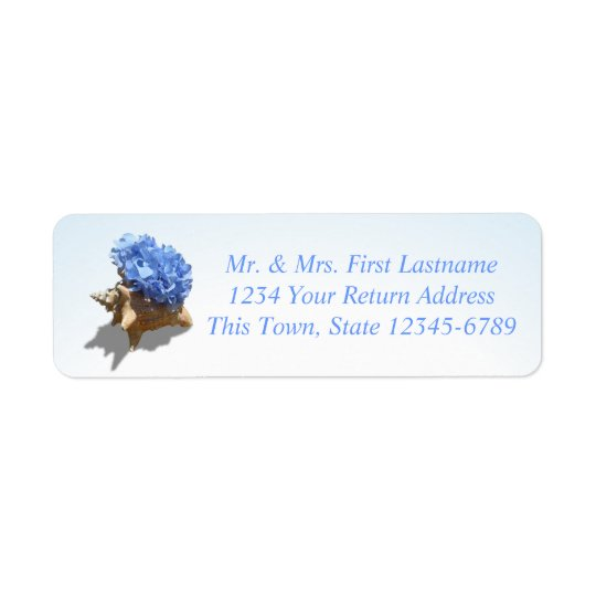 Seashore Hydrangea Blue Return Address Label