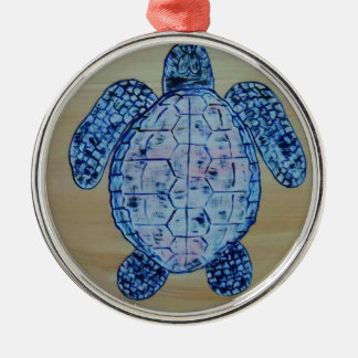Seashore Turtle Silver-Colored Round Decoration