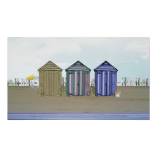 Seaside and Beach Huts Art Poster