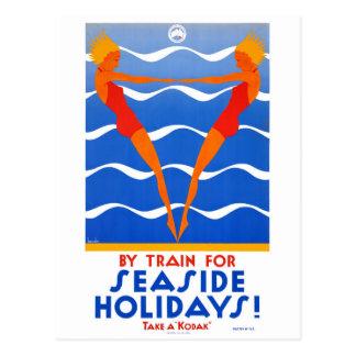 Seaside Australia Vintage Travel Poster Restored Postcard