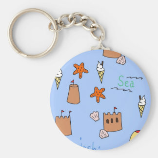 seaside basic round button key ring