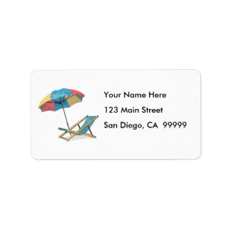Seaside Beach Chairs & Umbrella Address Label