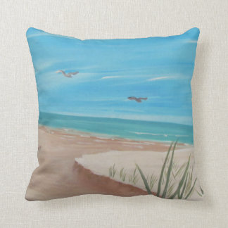Seaside beach scene square pillow
