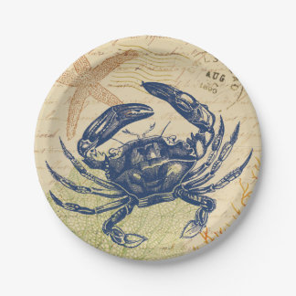 Seaside Blue Crab Collage 7 Inch Paper Plate