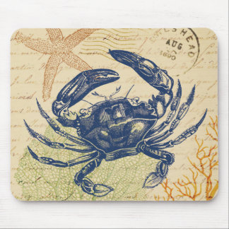 Seaside Blue Crab Collage Mouse Mat