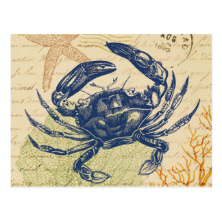 Seaside Blue Crab Collage Postcard