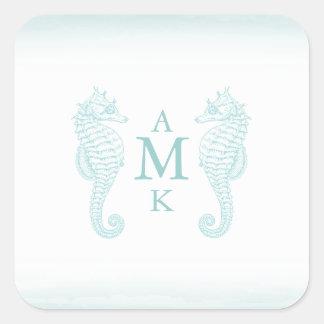 Seaside Blue Monogram Stickers