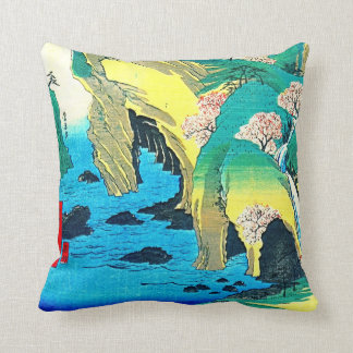 Seaside Caves Japan 1853 Throw Pillow