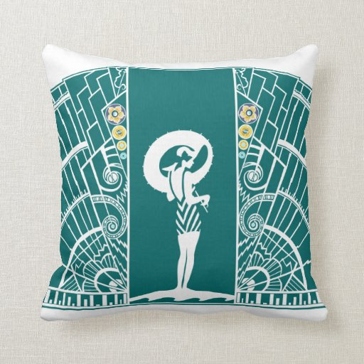 SEASIDE DECO in Turquoise and Yellow Throw Pillows