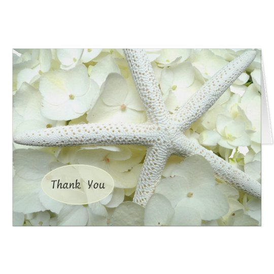 Seaside Garden White Floral Starfish Thank You Card