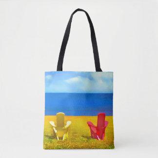 Seaside Lawn Chairs Tote Bag