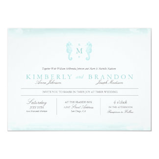 Seaside Monogram Wedding Invitation