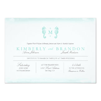 Seaside Monogram Wedding Invitation - Tiffany Blue