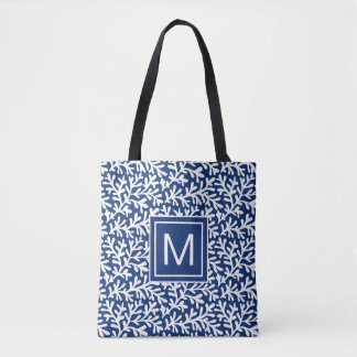 Seaside Nautical Beach | Coral Monogram Tote Bag