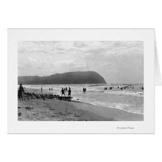 Seaside, Oregon Bathers and Tillimook Head Greeting Card