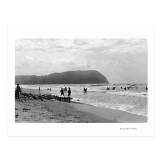 Seaside, Oregon Bathers and Tillimook Head Postcard