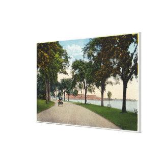 Seaside Park Drive View Showing Locomobile Canvas Print