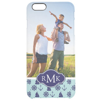 Seaside Pattern| Your Photo & Monogram Clear iPhone 6 Plus Case