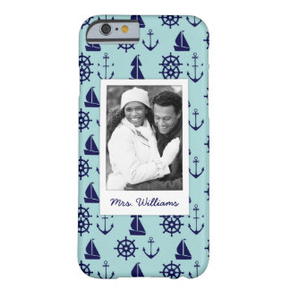 Seaside Pattern | Your Photo & Name Barely There iPhone 6 Case