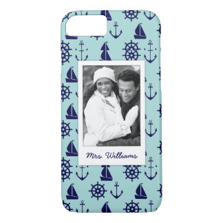 Seaside Pattern | Your Photo & Name iPhone 8/7 Case