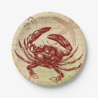 Seaside Red Crab Collage Paper Plate