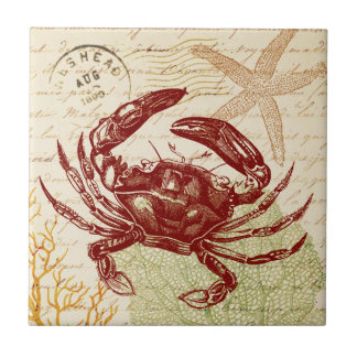 Seaside Red Crab Collage Tile