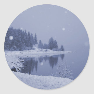 Seaside Snowfall Classic Round Sticker