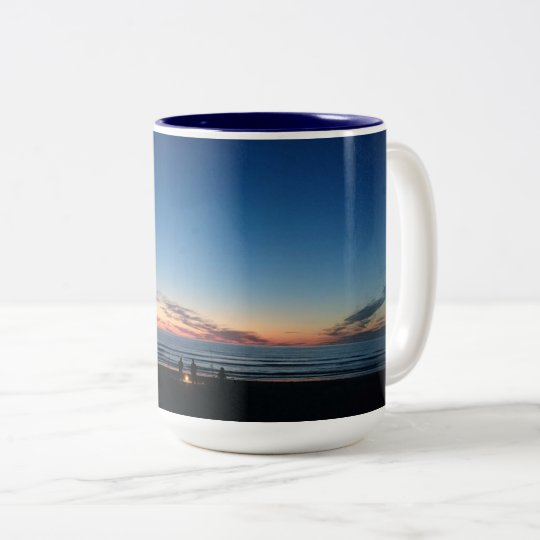 Seaside sunset. Night fishing with the boys Two-Tone Coffee Mug
