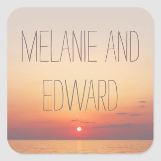 Seaside Sunset Wedding Square Sticker