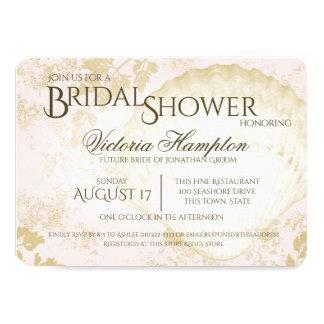 Seaside Vintage Beach Pink Blush Bridal Shower 11 Cm X 16 Cm Invitation Card