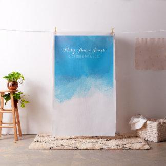 Seaside Wedding Photo Backdrop Blue Watercolor Fabric