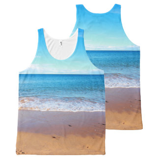 Seaside with beach and ocean, print all over All-Over print tank top