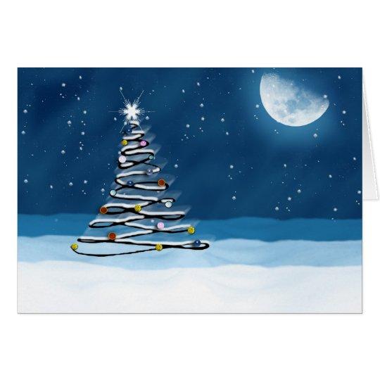 Season Greeting Holiday Card with tree