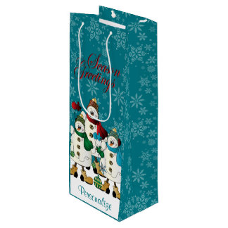 Season Greetings Snowmen Friends | Christmas Wine Gift Bag