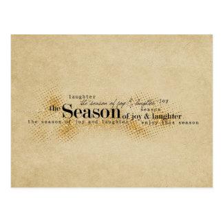 Season of Joy Gold Wordart Postcard